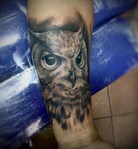 пример рисунка тату сова на руке 15.02.2021 №0064 - owl tattoo on arm - tatufoto.com