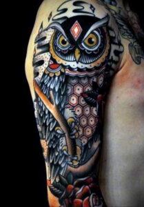 пример рисунка тату сова на руке 15.02.2021 №0076 - owl tattoo on arm - tatufoto.com