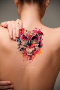 пример рисунка тату сова на спине 15.02.2021 №0011 - owl tattoo on back - tatufoto.com