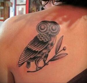 пример рисунка тату сова на спине 15.02.2021 №0012 - owl tattoo on back - tatufoto.com