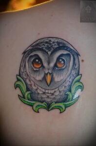 пример рисунка тату сова на спине 15.02.2021 №0021 - owl tattoo on back - tatufoto.com