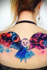 пример рисунка тату сова на спине 15.02.2021 №0032 - owl tattoo on back - tatufoto.com