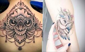 пример рисунка тату сова на спине 15.02.2021 №0033 - owl tattoo on back - tatufoto.com