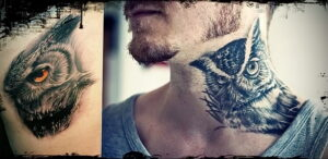 пример рисунка тату сова на шее 15.02.2021 №0016 - owl tattoo on neck - tatufoto.com