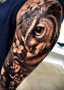 пример рисунка тату сова реализм 15.02.2021 №0004 - owl tattoo realism - tatufoto.com