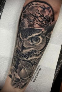 пример рисунка тату сова реализм 15.02.2021 №0029 - owl tattoo realism - tatufoto.com