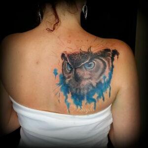 пример рисунка тату сова реализм 15.02.2021 №0031 - owl tattoo realism - tatufoto.com