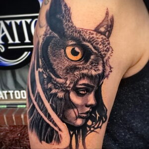 пример рисунка тату сова реализм 15.02.2021 №0032 - owl tattoo realism - tatufoto.com