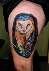 пример рисунка тату сова реализм 15.02.2021 №0033 - owl tattoo realism - tatufoto.com