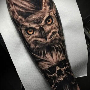 пример рисунка тату сова реализм 15.02.2021 №0038 - owl tattoo realism - tatufoto.com
