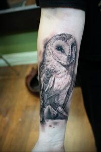 пример рисунка тату сова реализм 15.02.2021 №0044 - owl tattoo realism - tatufoto.com
