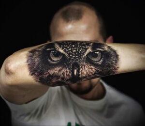 пример рисунка тату сова реализм 15.02.2021 №0059 - owl tattoo realism - tatufoto.com
