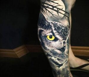пример рисунка тату сова реализм 15.02.2021 №0068 - owl tattoo realism - tatufoto.com