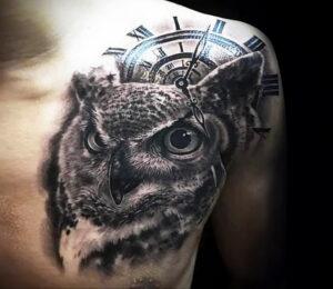 пример рисунка тату сова реализм 15.02.2021 №0069 - owl tattoo realism - tatufoto.com