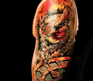 пример рисунка тату сова реализм 15.02.2021 №0071 - owl tattoo realism - tatufoto.com