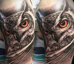 пример рисунка тату сова реализм 15.02.2021 №0073 - owl tattoo realism - tatufoto.com