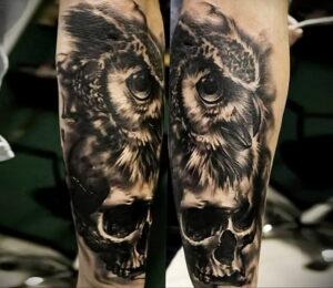 пример рисунка тату сова реализм 15.02.2021 №0078 - owl tattoo realism - tatufoto.com