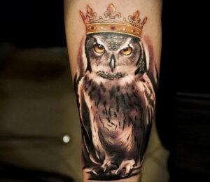 пример рисунка тату сова реализм 15.02.2021 №0079 - owl tattoo realism - tatufoto.com