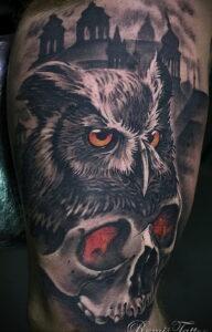 пример рисунка тату сова реализм 15.02.2021 №0084 - owl tattoo realism - tatufoto.com