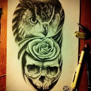 пример рисунка тату сова реализм 15.02.2021 №0090 - owl tattoo realism - tatufoto.com