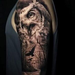 пример рисунка тату сова реализм 15.02.2021 №0099 - owl tattoo realism - tatufoto.com