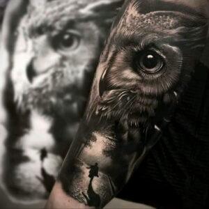 пример рисунка тату сова реализм 15.02.2021 №0100 - owl tattoo realism - tatufoto.com