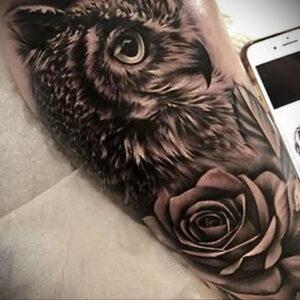 пример рисунка тату сова реализм 15.02.2021 №0108 - owl tattoo realism - tatufoto.com