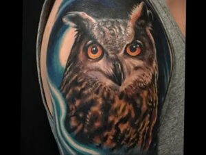 пример рисунка тату сова реализм 15.02.2021 №0111 - owl tattoo realism - tatufoto.com