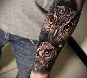пример рисунка тату сова реализм 15.02.2021 №0115 - owl tattoo realism - tatufoto.com