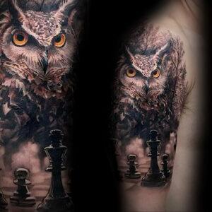 пример рисунка тату сова реализм 15.02.2021 №0121 - owl tattoo realism - tatufoto.com