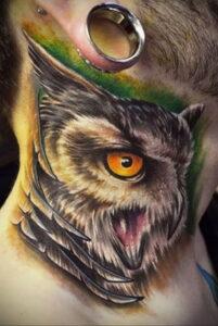 пример рисунка тату сова реализм 15.02.2021 №0122 - owl tattoo realism - tatufoto.com