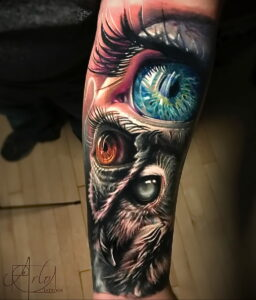 пример рисунка тату сова реализм 15.02.2021 №0125 - owl tattoo realism - tatufoto.com