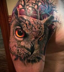 пример рисунка тату сова реализм 15.02.2021 №0133 - owl tattoo realism - tatufoto.com