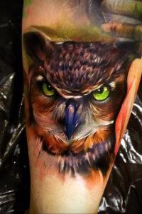 пример рисунка тату сова реализм 15.02.2021 №0134 - owl tattoo realism - tatufoto.com