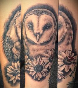 пример рисунка тату сова реализм 15.02.2021 №0137 - owl tattoo realism - tatufoto.com
