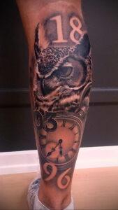 рисунок татуировки сова и часы 15.02.2021 №0002 - owl and clock tattoo- tatufoto.com