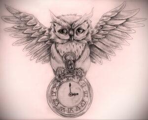 рисунок татуировки сова и часы 15.02.2021 №0004 - owl and clock tattoo- tatufoto.com
