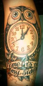 рисунок татуировки сова и часы 15.02.2021 №0010 - owl and clock tattoo- tatufoto.com