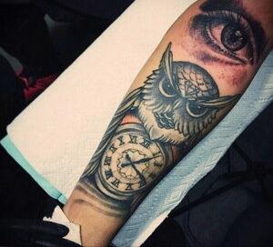 рисунок татуировки сова и часы 15.02.2021 №0012 - owl and clock tattoo- tatufoto.com