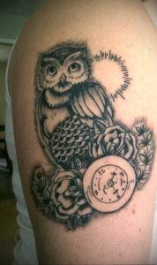 рисунок татуировки сова и часы 15.02.2021 №0013 - owl and clock tattoo- tatufoto.com