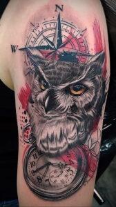 рисунок татуировки сова и часы 15.02.2021 №0016 - owl and clock tattoo- tatufoto.com