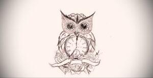 рисунок татуировки сова и часы 15.02.2021 №0019 - owl and clock tattoo- tatufoto.com