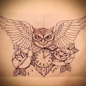 рисунок татуировки сова и часы 15.02.2021 №0020 - owl and clock tattoo- tatufoto.com