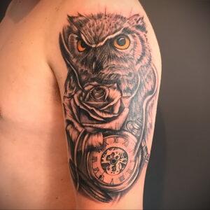 рисунок татуировки сова и часы 15.02.2021 №0024 - owl and clock tattoo- tatufoto.com