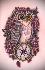 рисунок татуировки сова и часы 15.02.2021 №0027 - owl and clock tattoo- tatufoto.com
