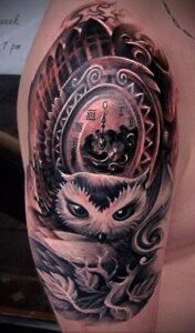 рисунок татуировки сова и часы 15.02.2021 №0028 - owl and clock tattoo- tatufoto.com
