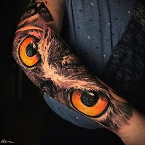 тату глаза совы пример рисунка 15.02.2021 №0020 - owl eyes tattoo - tatufoto.com