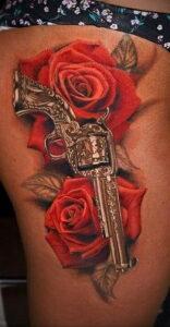 тату револьвер и роза 16.02.2021 №0010 - tattoo rose revolver - tatufoto.com