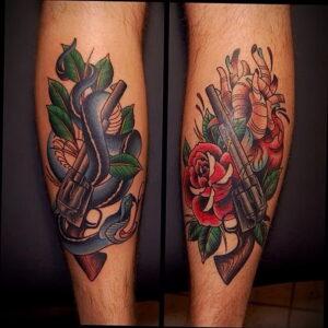 тату револьвер и роза 16.02.2021 №0016 - tattoo rose revolver - tatufoto.com