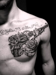 тату револьвер и роза 16.02.2021 №0046 - tattoo rose revolver - tatufoto.com